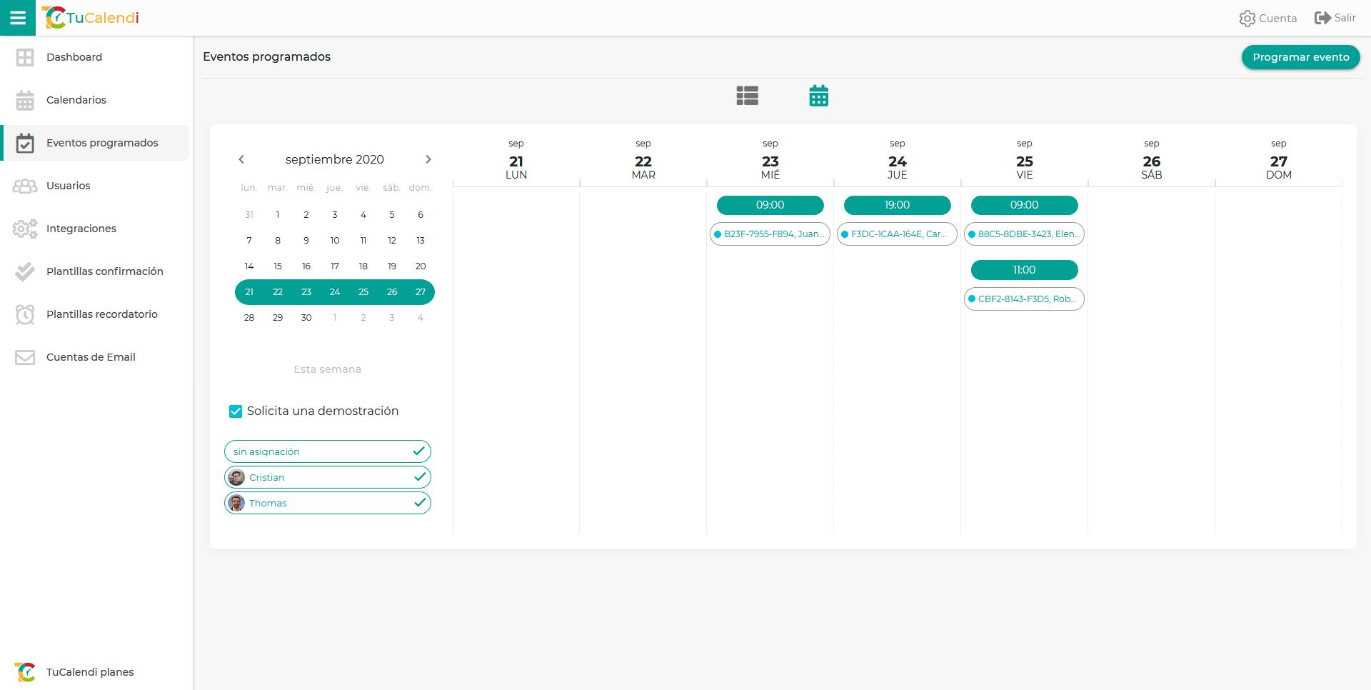 Organización calendario online de TuCalendi