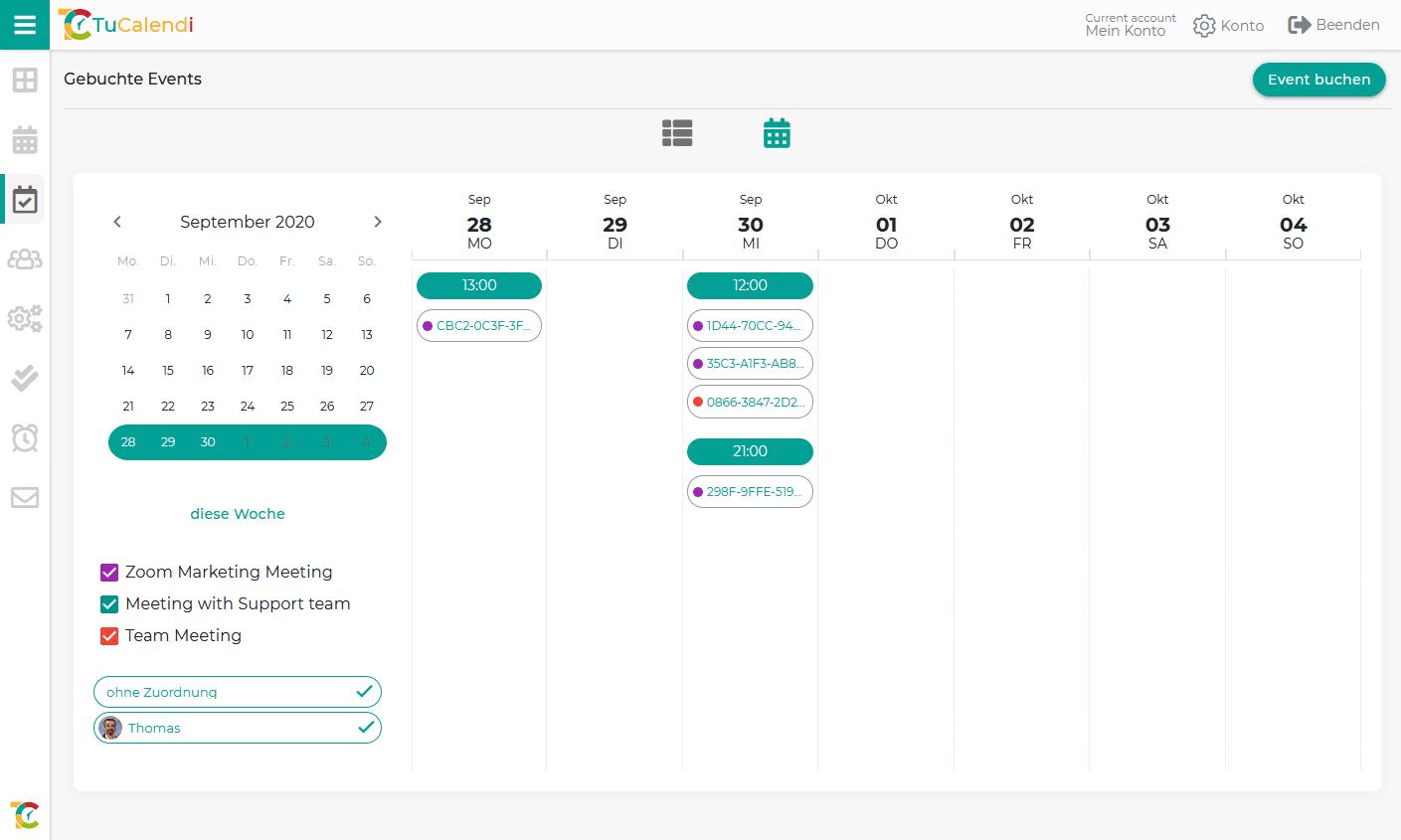 Übersicht Online Terminkalender