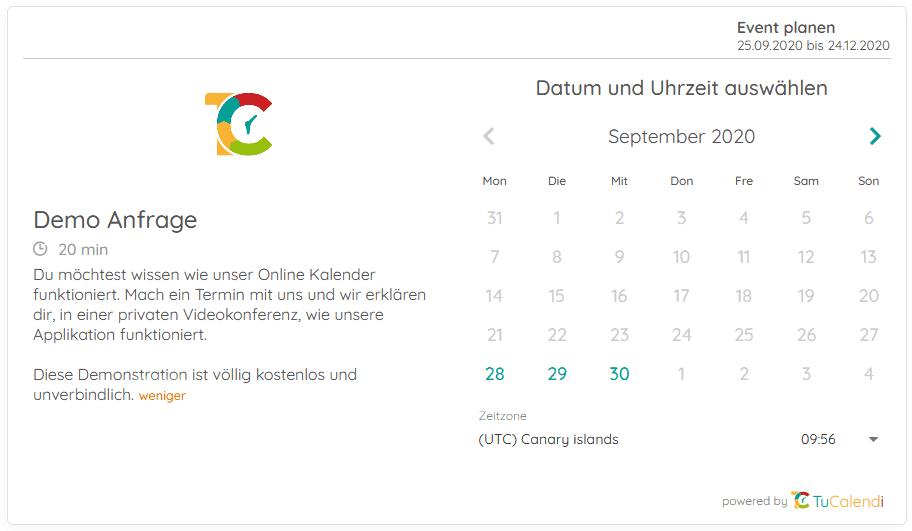 Online Terminkalender Widget